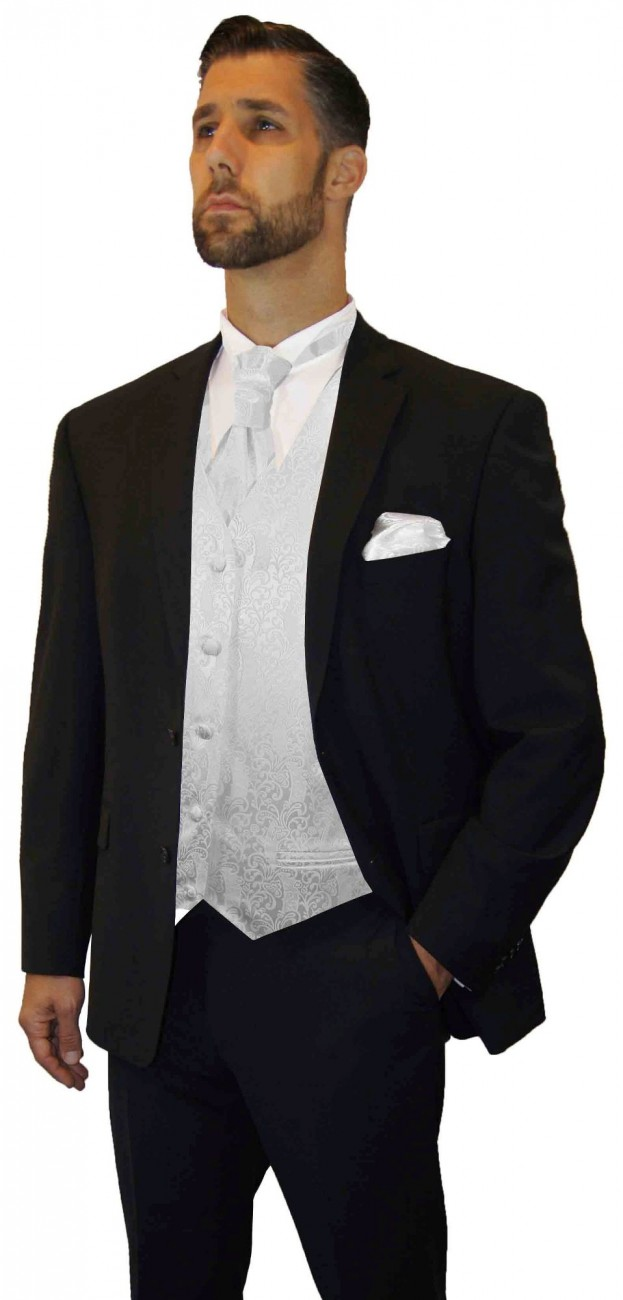 Wedding suit tuxedo black with white barock waistcoat wedding vest