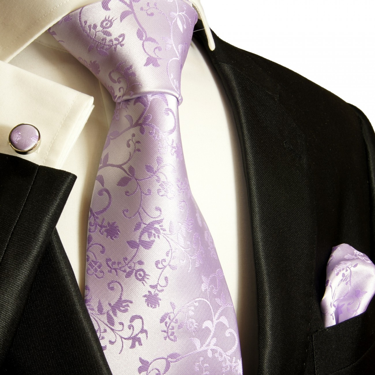 Purple lilac tie for wedding paisley pattern v93
