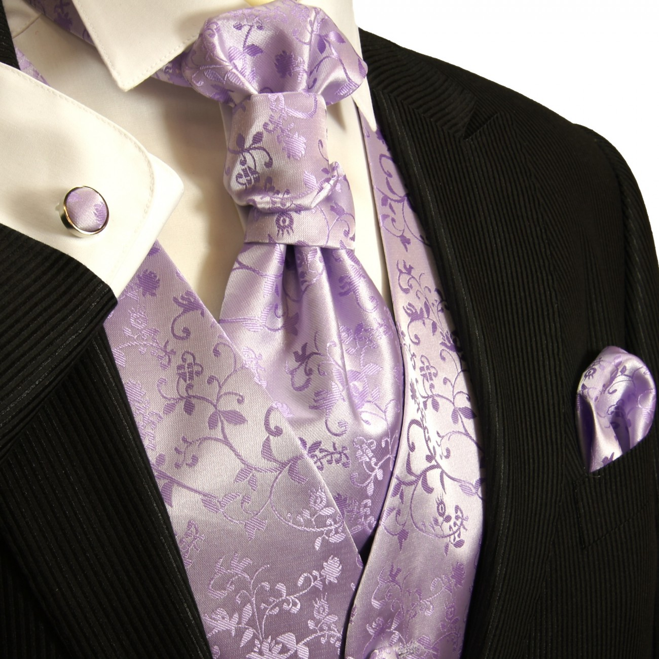 Wedding vest set with Ascot tie lilac