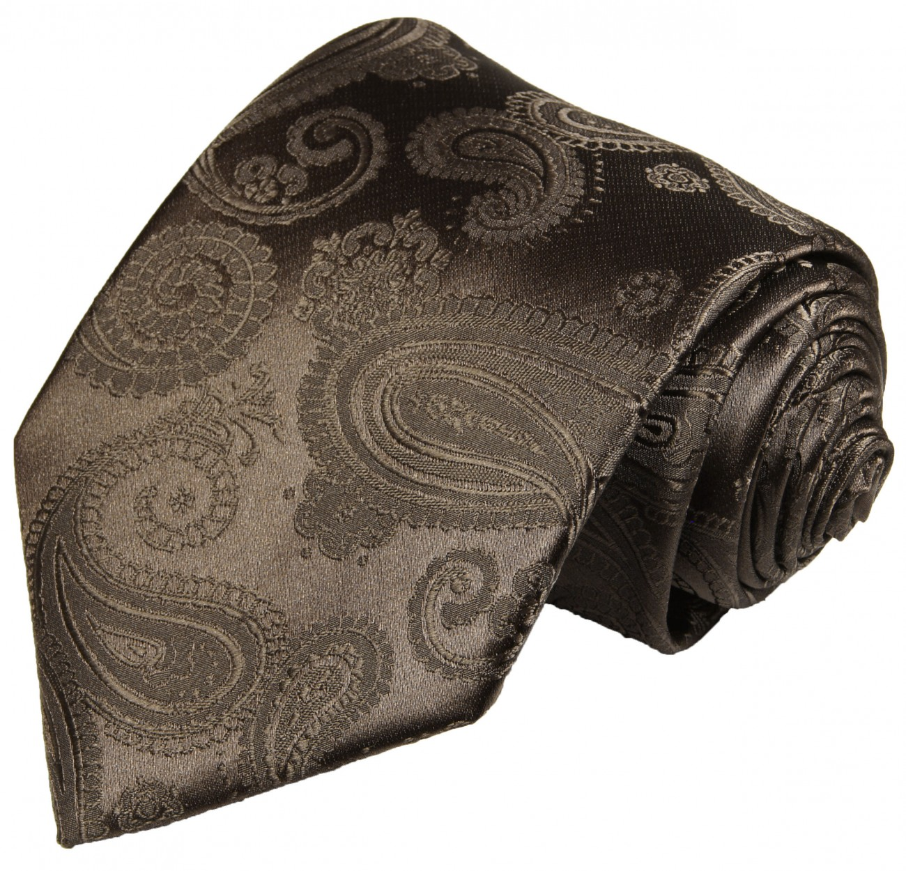 Brown tie for wedding paisley pattern v96