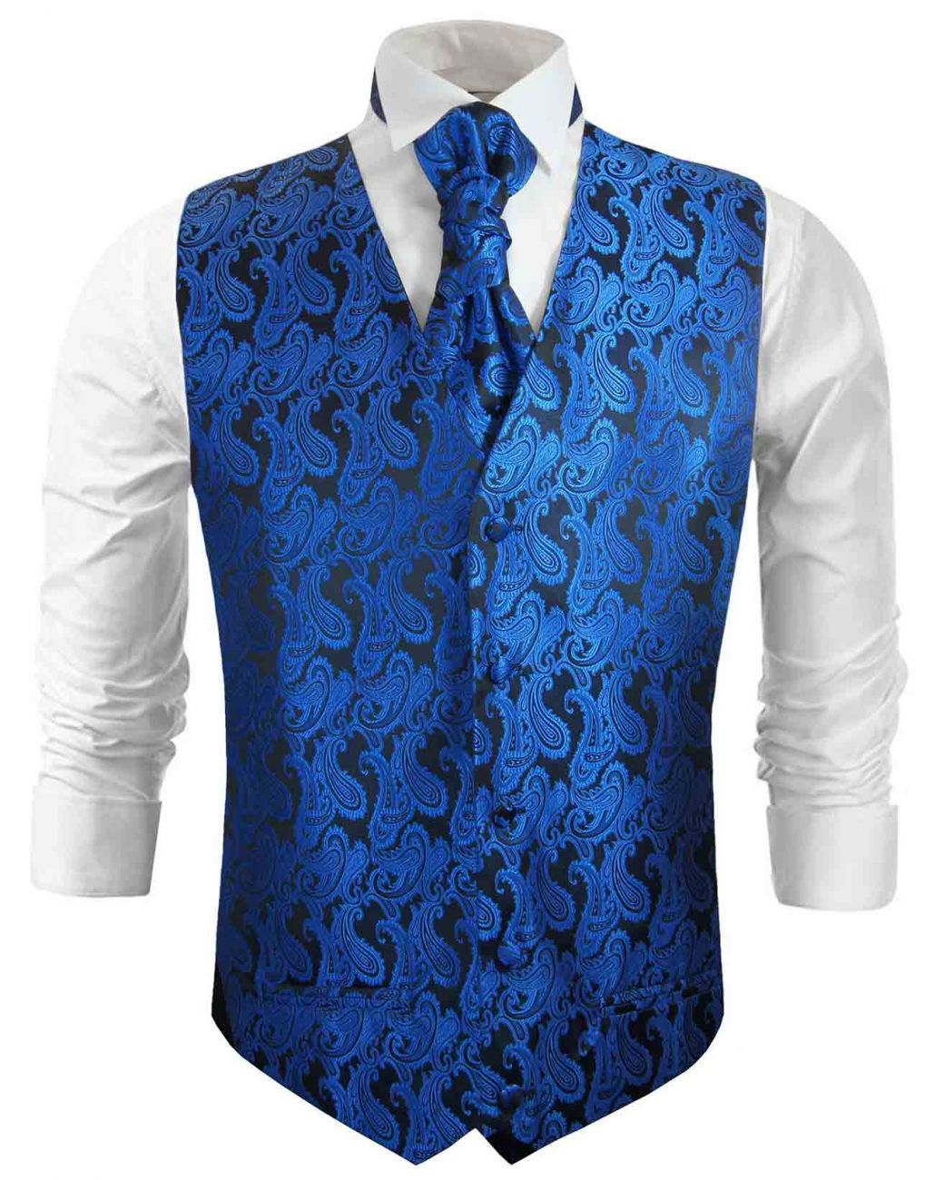 Blue black paisley wedding vest waistcoat with cravat