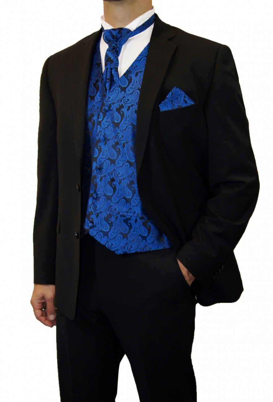 Partner combi - black and blue wedding suit with waistcoat set and shirt + boys suit and vest set