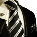 Extra long XL necktie Set 3pcs. black silver 100% silk mens tie by Paul Malone 279