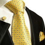 Extra long XL necktie Set 3pcs. yellow 100% silk mens tie by Paul Malone 689