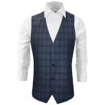 Mens vest blue gray plaid