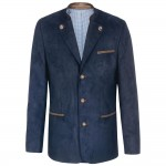 Traditional german mens jacket navy blue - leather like