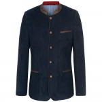 Traditional german mens jacket navy blue - leather like - de suede