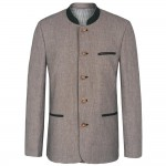 Traditional german mens jacket light gray nature - Linen