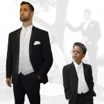 Partner combi - black and white wedding suit with waistcoat set and shirt + boys suit and vest set