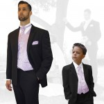 Partner combi - black and lilac wedding suit with waistcoat set and shirt + boys suit and vest set