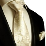 Silk Necktie Set 2pcs. wedding mens tie and pocket square champagne 948