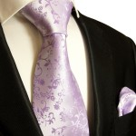 Paul Malone mens Tie + Pocket Square necktie purple lilac v93