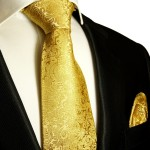 Silk Necktie Set 2pcs. Tie + Handkerchief gold 902