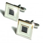 Silver black cufflinks from Paul Malone Ma15
