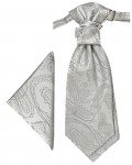Silver cravat paisley | Ascot tie and pocket square | Wedding plastron PH3