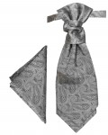 Silver gray cravat paisley | Ascot tie and pocket square | Wedding plastron PH30