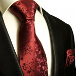 Paul Malone mens Tie + Pocket Square necktie maroon red